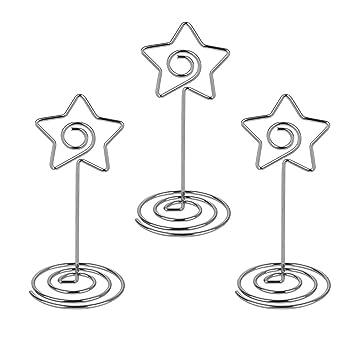20 piezas Sostenedor Pinzas de Tarjeta Nota Fotos Soporte Metal Memo Clip Estrella Marco de Bricolaje