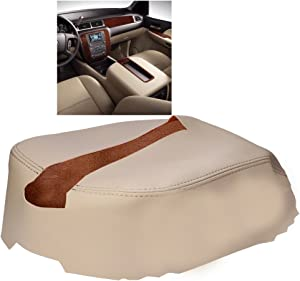 QKPARTS Leather Console Lid Armrest Cover For 07-13 Chevy Tahoe, Suburban, Yukon TAN Leather Part Only