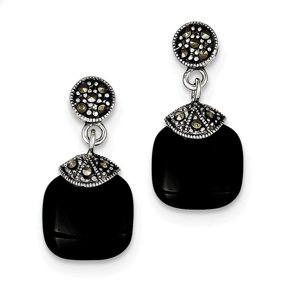 Solid .925 Sterling Silver Onyx /& Marcasite Earrings 26x12mm