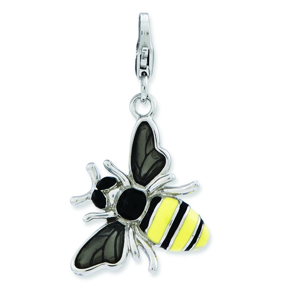 Sterling Silver Rhodium-plated Fancy Lobster Closure Enameled 3-d Yellow Jacket With Lobster Clasp Charm