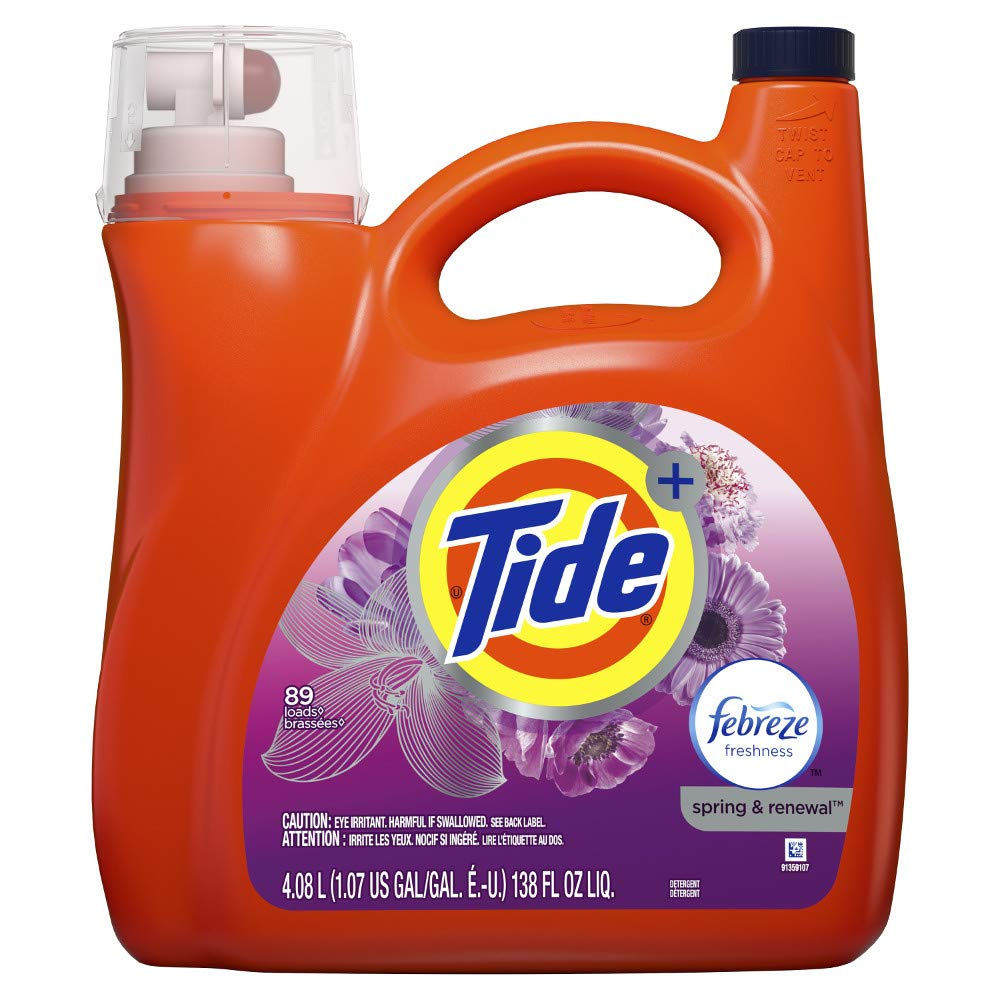 Tide Plus Febreze Freshness Spring and Renewal Scent Liquid Laundry Detergent, 138 Oz, 89 Loads, 4.613 Pound by Tide