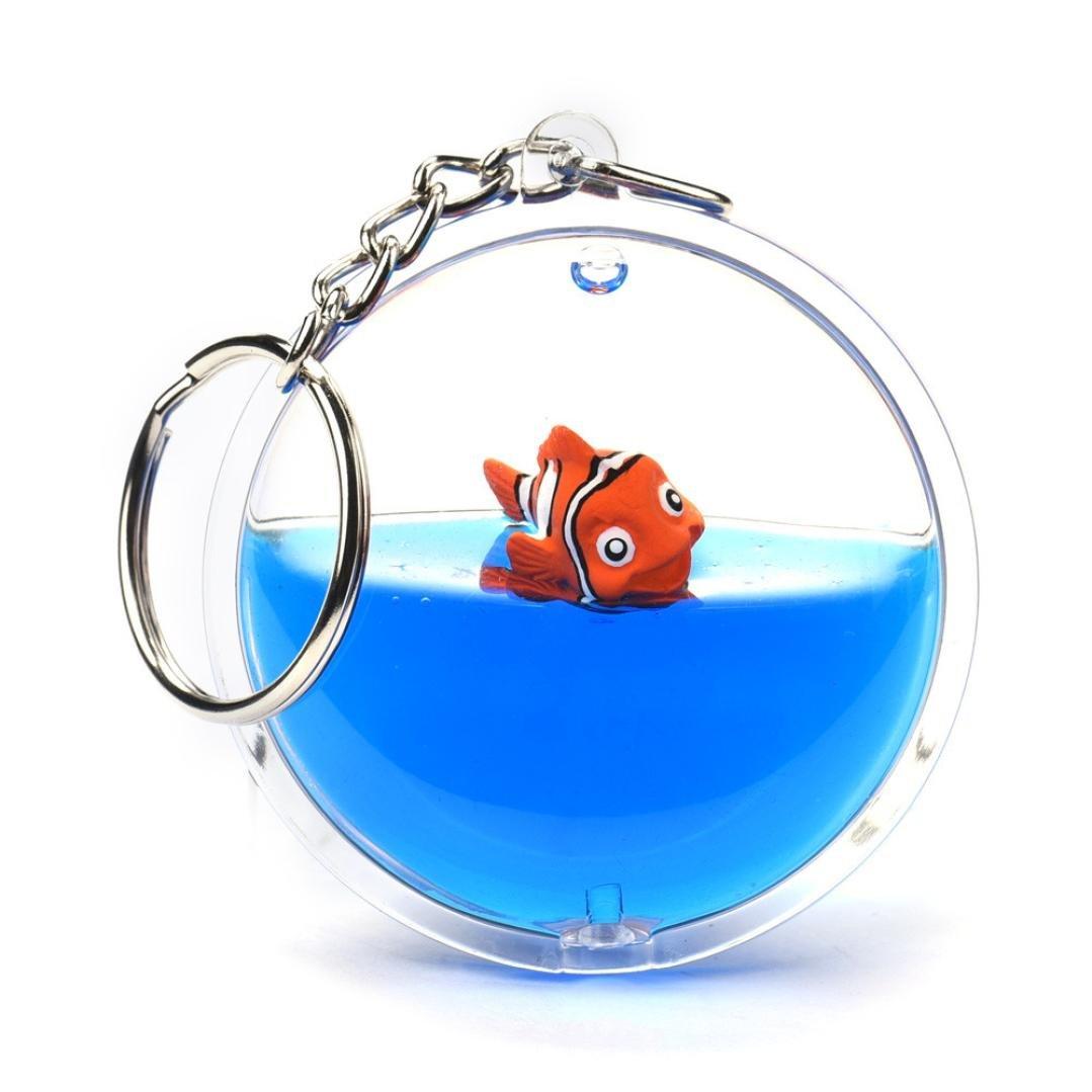 Fish in Moving Liquid Keychain, SUPPION Mini Filled Bottle Round Keychain (Fish)