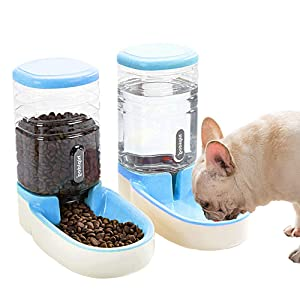 UniqueFit Pets Cats Dogs Automatic Waterer and Food Feeder