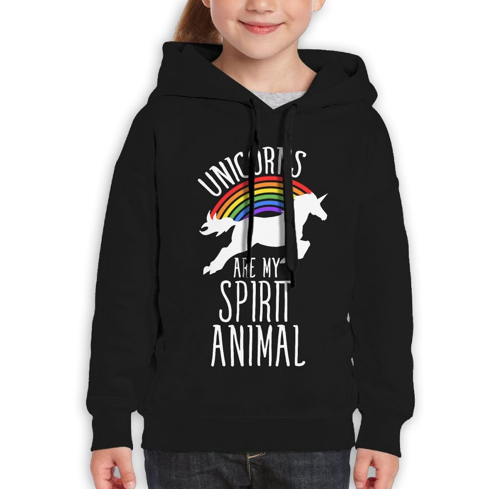 Teenager Pullover Hoodie Sweatshirt Unicorns Are My Spirit Animal Teen's Hooded For Boys Girls Bdna