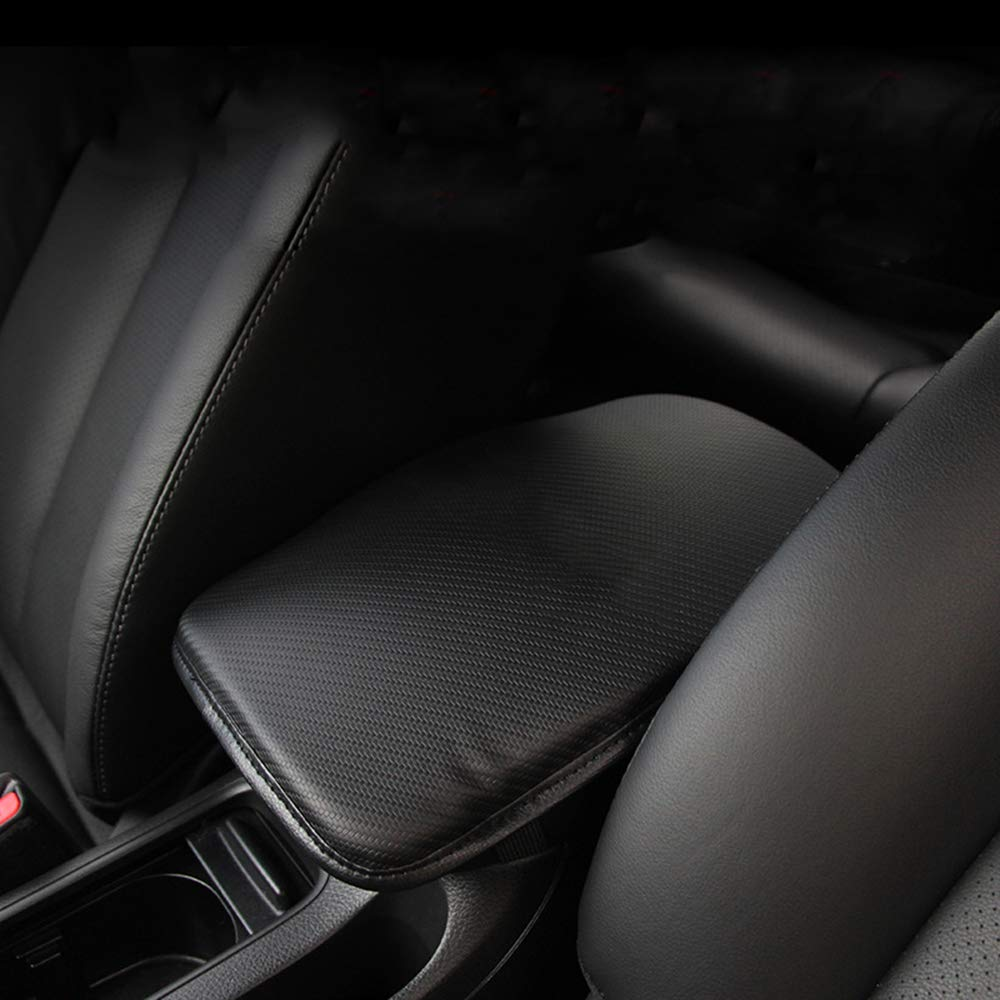 D-Black/&Redline Forala Auto Center Console Pad PU Leather Car Armrest Seat Box Cover Protector Universal Fit