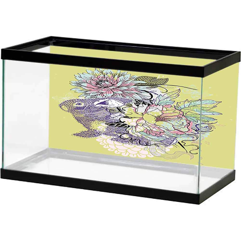 bybyhome Fish Tank Sticker Flower, Plant, Beautiful, Artistic (8) Easy Paste by bybyhome
