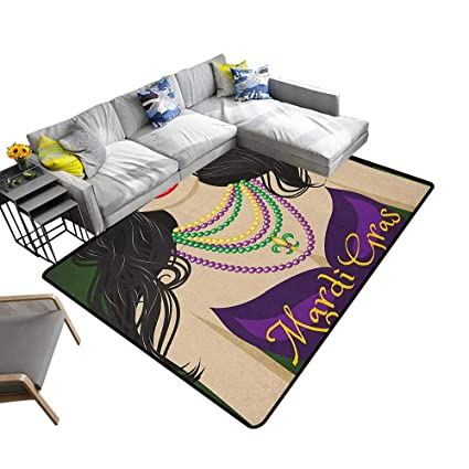 Amazon.com: Mardi Gras Home Custom Floor mat Young Woman ...