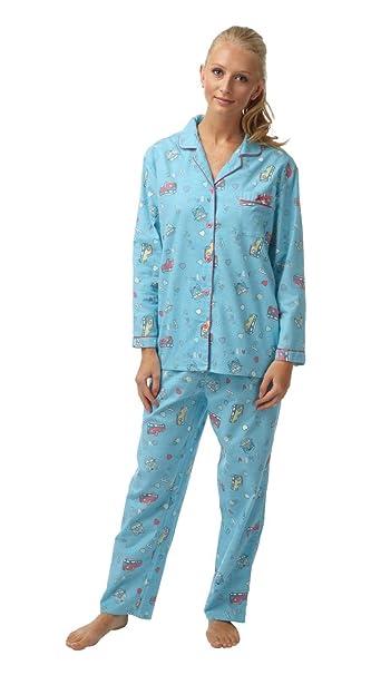 Indigo Sky – regalo pack furgoneta cepillado Wincey pijama. Coral o azul. Tamaños 8