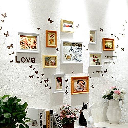 Bilderrahmen* 10 Box Foto wand Schmetterling wand Aufkleber der Europäischen Rahmen Kombination Kinder Zimmer Restaurant Fotos, weiße Wände der Hu + das kontinentale ? Herz