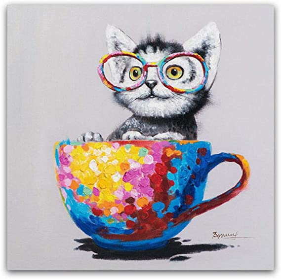Dayanzai Cute Animal Canvas Print Picture Glasses Cat Oil Painting Pop Art Posters On The Wall Living Room Decor Modern Poster And Print 50x50cm No Frame Posters Prints Amazon Com