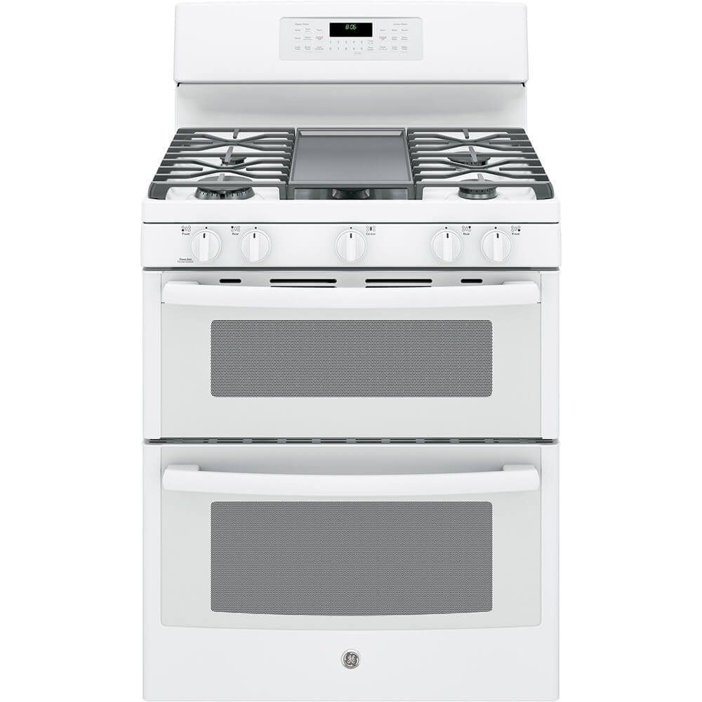 "GE JGB860DEJWW 30"" White Gas Sealed Burner Double Oven Range - Convection"