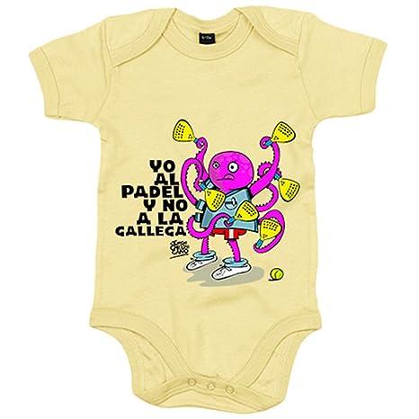 Body bebé yo al padel y no a la gallega - Amarillo, 6-12