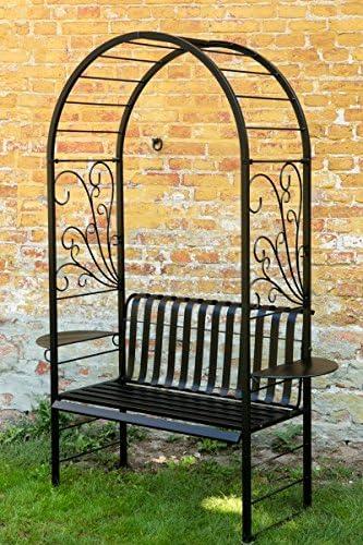Rose arco con banco Zinc + Negro banco de jardín Metal Banco ...