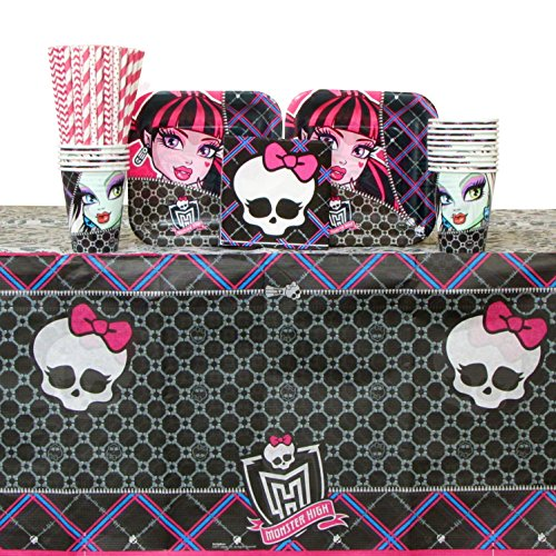 High Monster Paper Tablecover (Monster High Party Pack for 16 Guests: Straws, Dessert Plates, Beverage Napkins, Cups, and Table Cover (Bundle for)