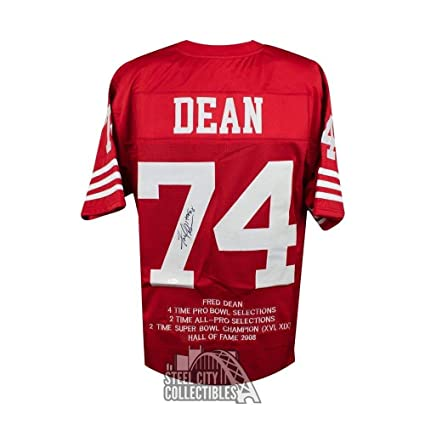 newest collection 9c85c 9e3f0 Fred Dean Autographed Signed San Francisco 49ers Custom Red ...