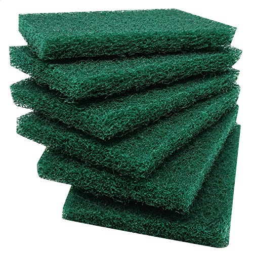 Hulless 12 per Pack Scrub Sponge Scouring Pads, Household Cleaning Utensil Scrubber, Pot Brush scrubbers Kitchen Cooking Utensil Cleaning Tools, Non-Scratch Anti-Grease Technology, Reusable, Green. ()