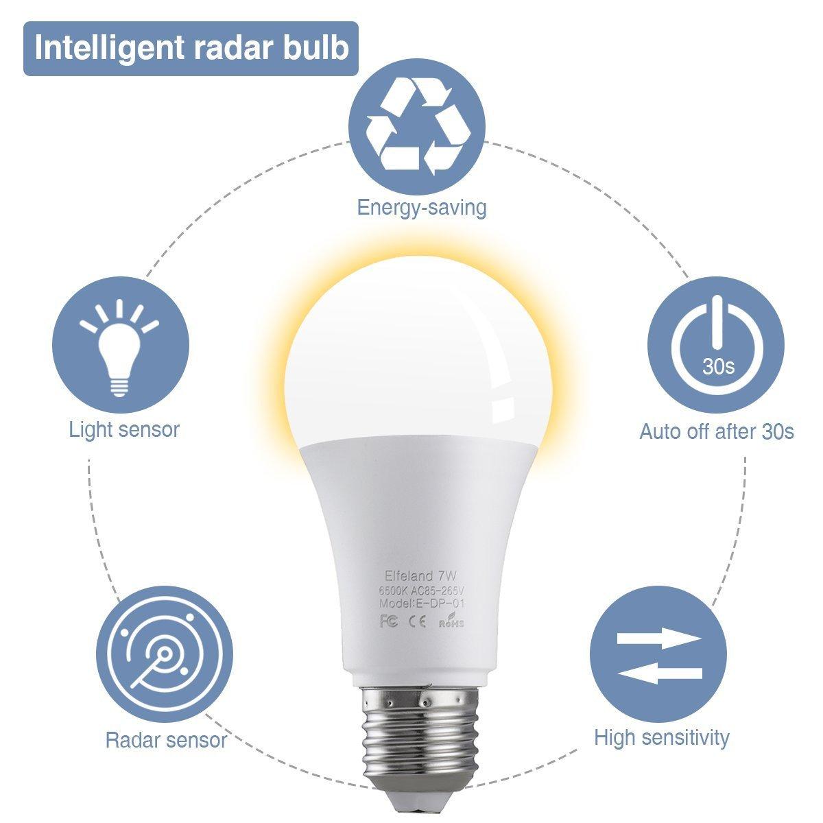 Ampoule à DEL blanche, ampoule à DEL Elfeland® E27 avec capteur de mouvement de 7 W remplace les ampoules basse consommation 50W 6500K Capteur de radar ...