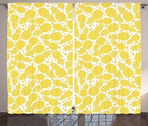 Ambesonne Yellow Curtains, Yellow Tropical Exotic Pineapple Fruit Pattern with Dots Little Circles, Living Room Bedroom Window Drapes 2 Panel Set, 108 X 84 , White and Yellow