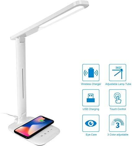 LED Desk Lamp with 10W Fast Qi Wireless Chargeing Compatible with iPhone Samsung Galaxy Phones/Note, Dimmable Reading Table Lamp Touch Control, 3 ...
