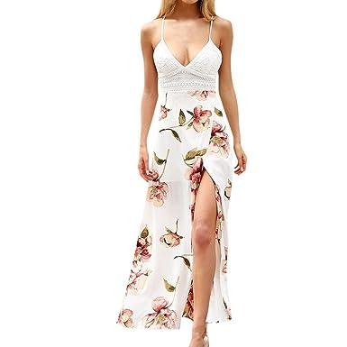 a0a2a0e60 Sunward8 Women's Crochet Backless Bohemian Split Maxi Long Dress Strap Floral  Print Beach Small Petite Pink