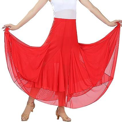 Falda de Baile Latino Damas de Mujer Elegante Color sólido Malla ...
