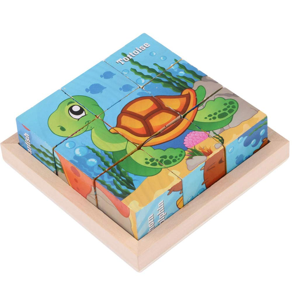 Trigle Children's Wooden 9-Piece Six-Sided Drawing Blocks Three-Dimensional Puzzle Children Wooden 9 Blocks Six Sides Building Blocks Dimensional Puzzle (B)