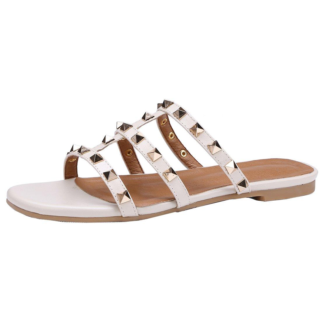 AIYOUMEI Sommer Outdoor Pantoffeln mit Nieten Flash Slipper Damen Bequeme Sandalen Schuhe  40 EU|Beige