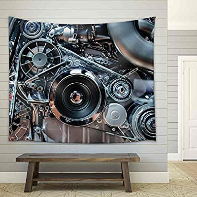 Car Engine Concept of Automobile Motor with Metal Chrome Plastic Parts Fabric Wall, That You Will Love, Astonishing Craft