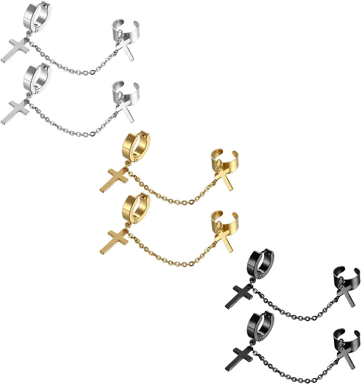 Flongo 6 Paires Boucles d/'Oreilles avec Croix pour Femme Homme Couleur Dor/é Argent Noir Bleu Color/é Rose Or Boucles d/'Oreilles Piercing en Acier Inoxydable Style Simple Classique
