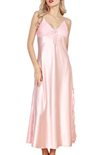 Puluo Women Sexy Nightdresses Satin Silk Luxury Nightwear Soft Long ... 95142a638