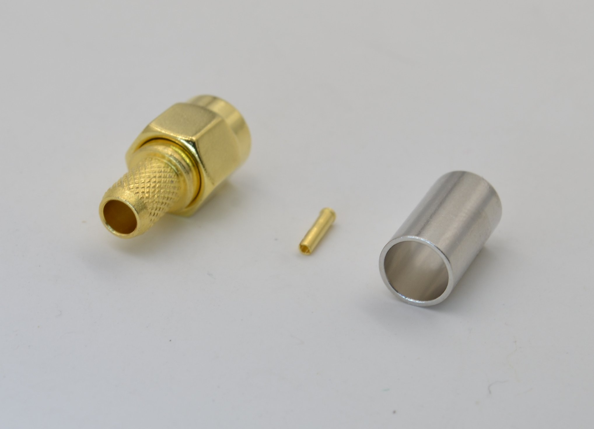 10pcs RP-SMA male (Inner hole) crimp adapter for RG58/RG142/LMR192/RG223/RF195/RG400 type cables High Value pure copper