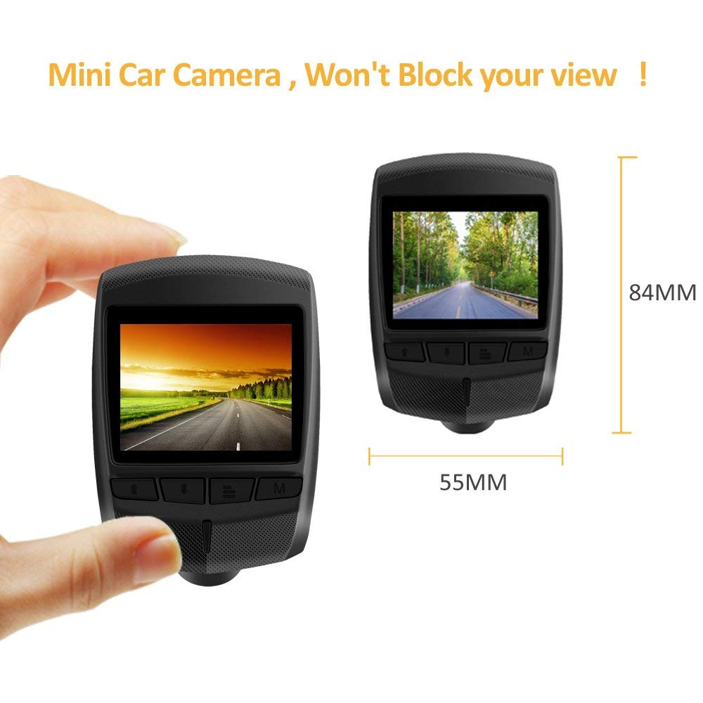 WiFi Dash Cam Full HD 1296P 2.0 LCD 170/° Wide Angle Car Camera Dash Camera for car with 16GB TF Card Included