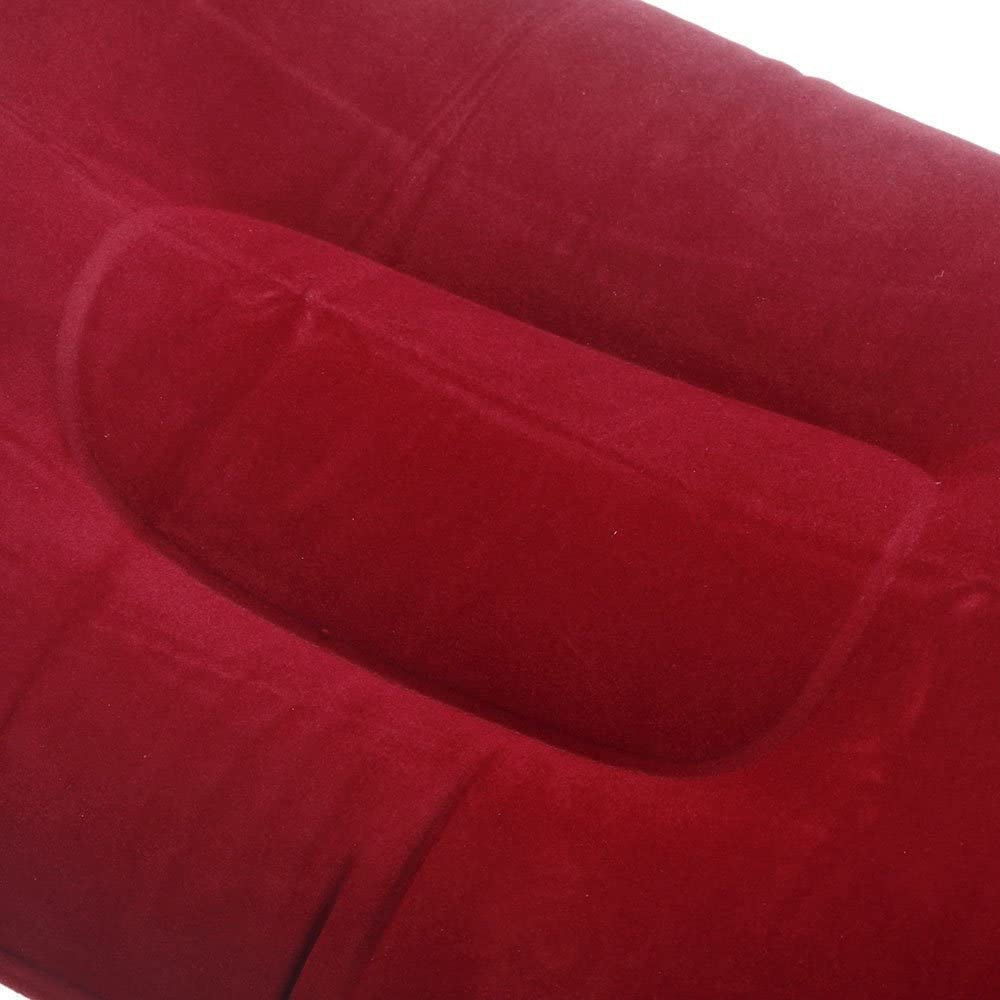 SODIAL Almohada de flocado Almohada plegable portatil inflable de Doble cara para acampar viajar oficina azul