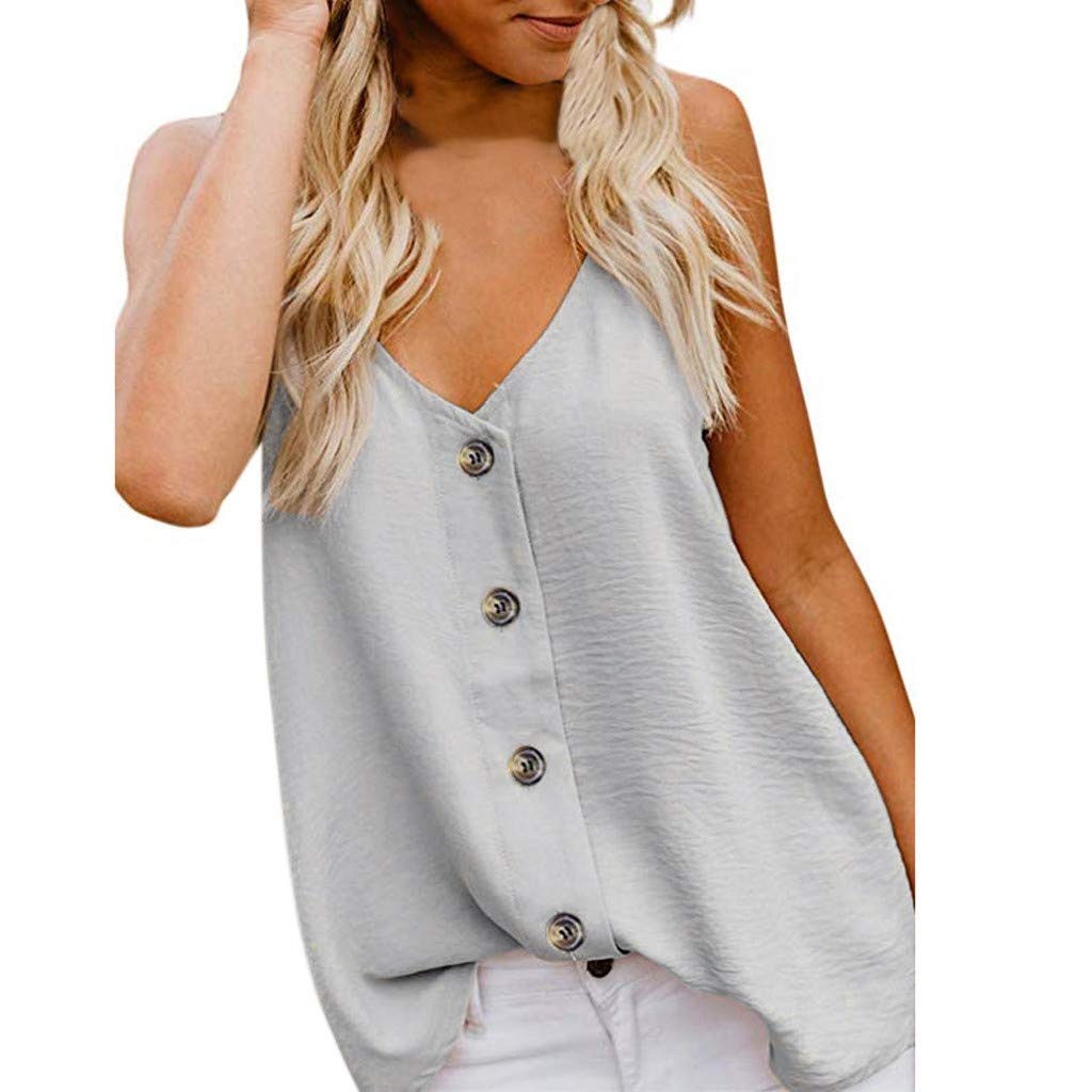 Dainzuy Women Tank Tops,Fashion Women's Casual Spaghetti Strap Button Front Tie Front V Neck Sleeveless Blouses Tank Tops Beige