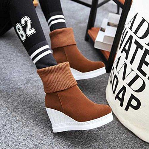 Chfso Womens Chandail De Mode Tricoté Bout Arrondi Tirer Sur Haute Plate-forme Wedge Bottines Marron