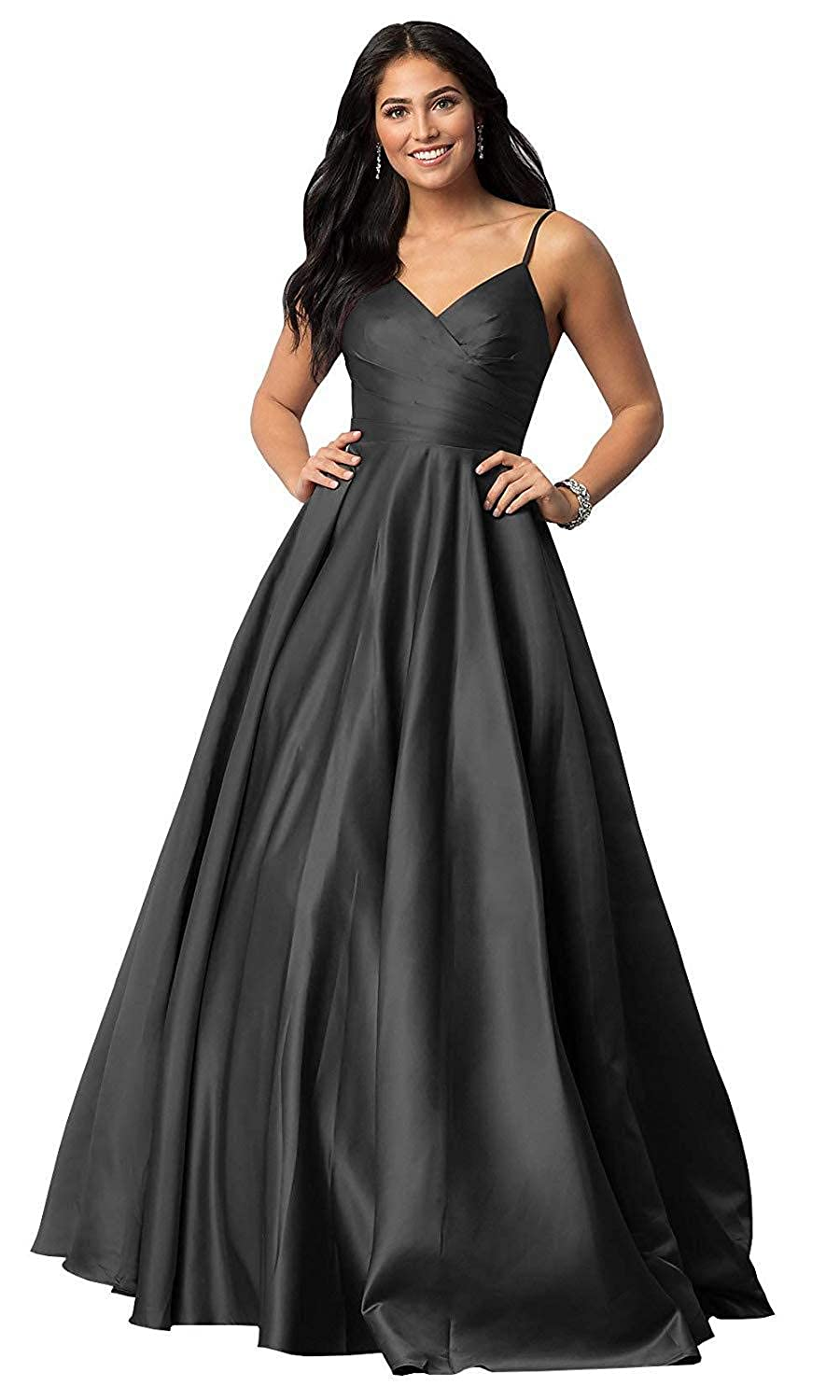 Black TTdamai Prom Dresses V Neck Satin Spaghetti Strap A Line Formal Evening Gowns with Pockets