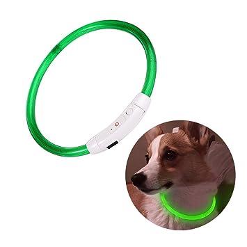 Bello Luna LED collar de perro, USB recargable y ajuste de longitud ajustable para todos los perros Gatos Collar de mascota collar verde