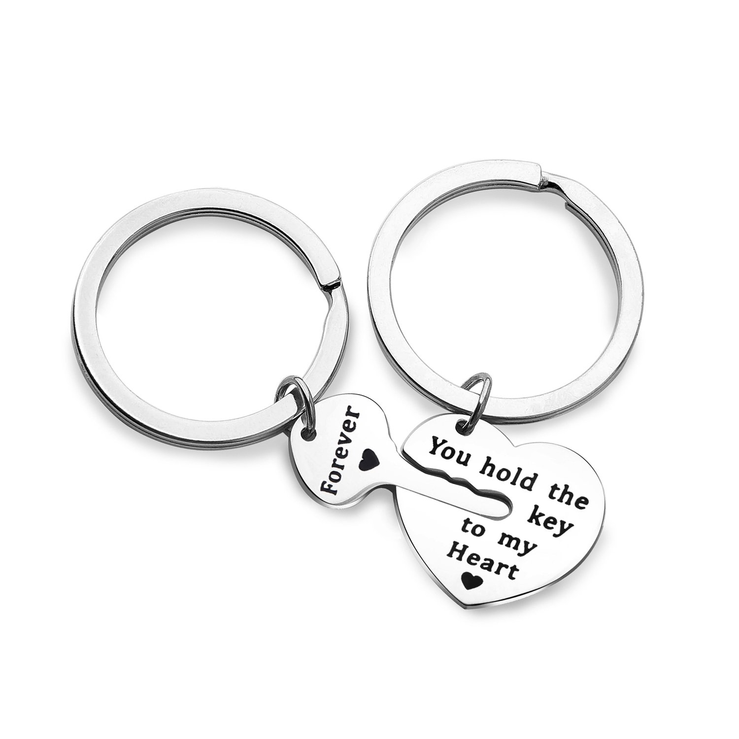 Couples Keychain Set You Hold the Key to My Heart Forever Jewelry for BBF (key to heart set)
