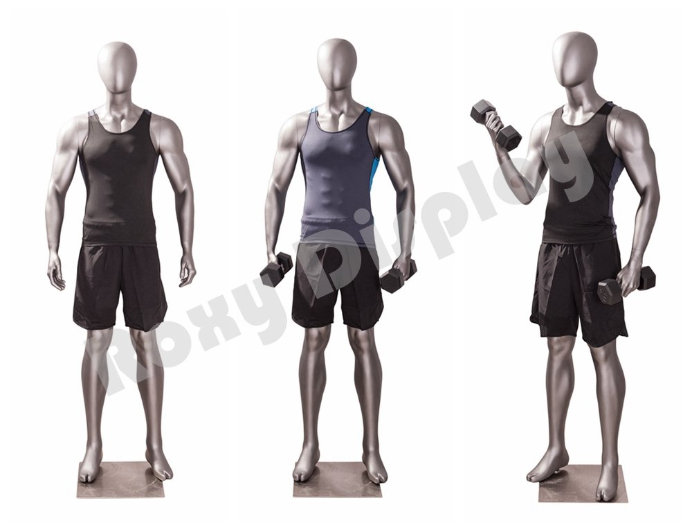 MC-JSM04 ROXYDISPLAY/™ Eye catching Male Mannequin,Athletic Style.Muscular Body Standing Pose,Right Hand up Dumbbell Exercises Pose.