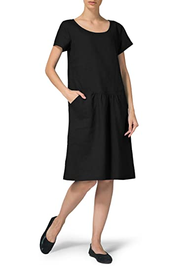 Vivid Linen Short Sleeve Calf Length Dress At Amazon Womens