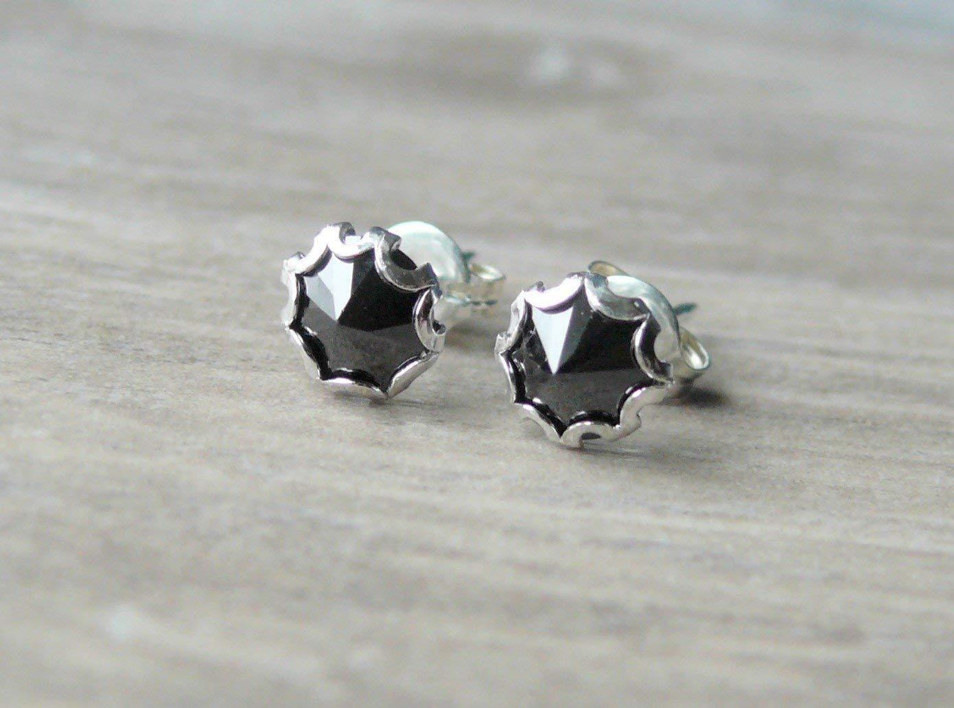 Stud Post Earring Black Cubic Zirconia 925 Sterling Silver