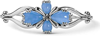 product image for Carolyn Pollack Sterling Silver Blue, Green or Pink Jade Gemstone Four Petal Cross Cuff Bracelet Size S, M or L