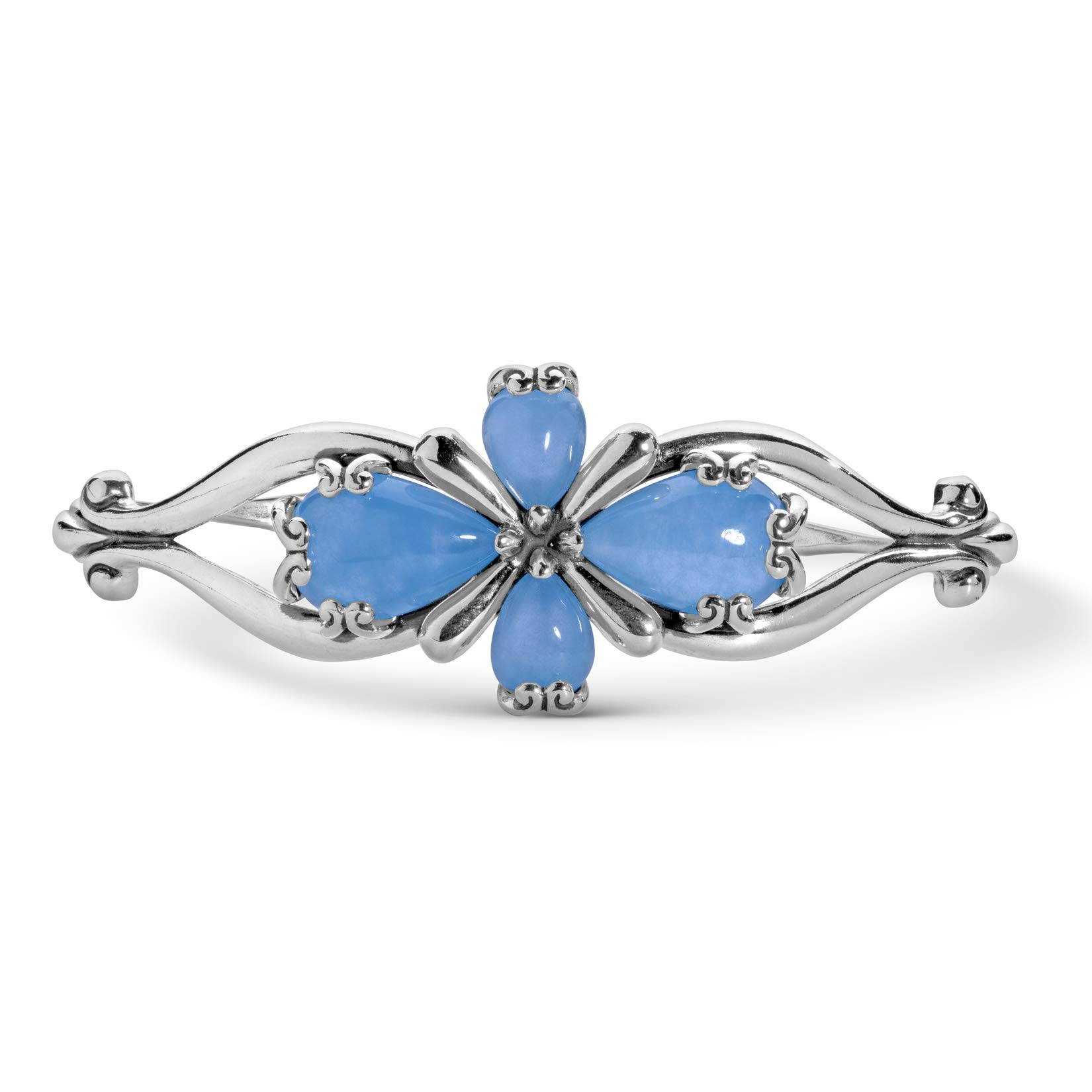 Carolyn Pollack Sterling Silver Blue Jade Gemstone Four Petal Cross Cuff Bracelet Size Medium