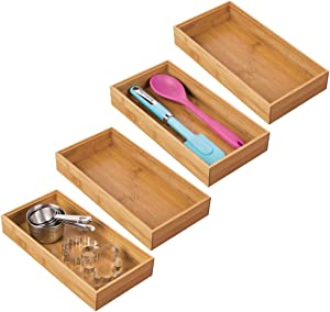 """mDesign Bamboo Kitchen Cabinet Drawer Organizer Stackable Tray Bin - Eco-Friendly, Multipurpose - Use in Drawers, on Countertops, Shelves or in Pantry - 6"""" Wide, 4 Pack - Natural Wood Finish"""