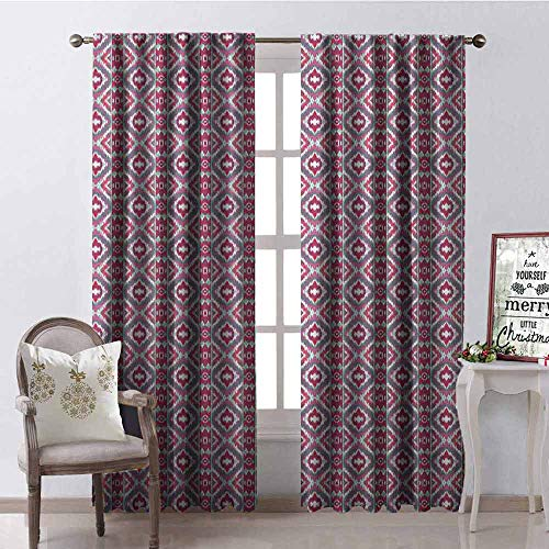 GloriaJohnson Ikat Wear-Resistant Color Curtain Square Pattern Checkered Mosaic Traditional Abstract Shapes Ethnic Inspirations Waterproof Fabric W52 x L54 Inch Magenta Grey Mint