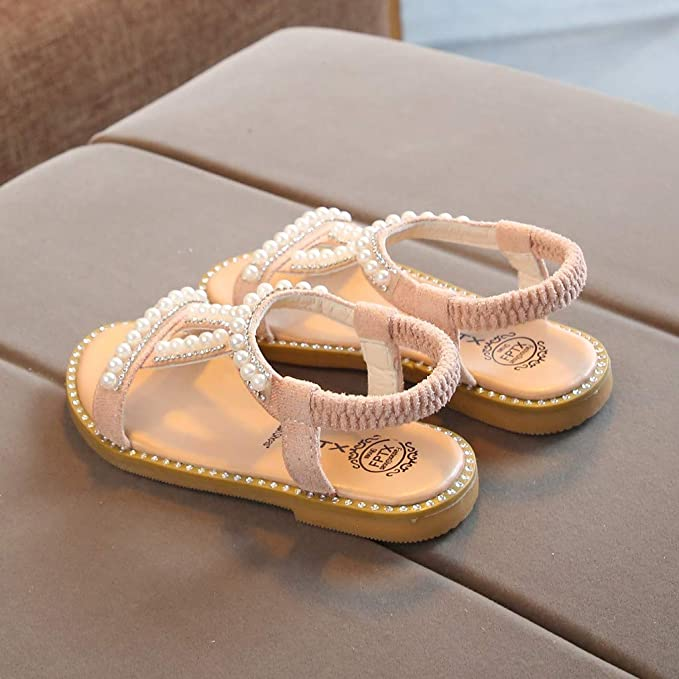 84b19055876 Amazon.com  Slide Sandals Kids Girls Pearl Crystal Single Princess Shoes  5.5-10  Clothing