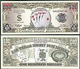 Poker / Royal Flush Casino Night Money 100 Million Dollar Bill - Lot of 100 Bills
