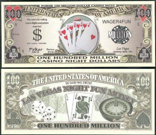 Poker / Royal Flush Casino Night Money 100 Million Dollar Bill - Lot of 100 Bills by Novelty Notes