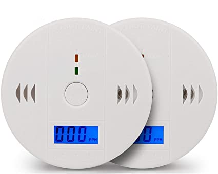 Carbon Monoxide Detector Alarm Pack 2, CO Gas Sensor Detector with Digital Display Alarm Clock Warning for Home (3 AA Battery not Included) (Pack 2)