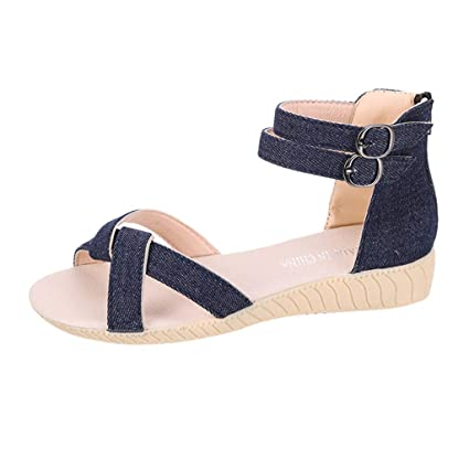 796485a37 Women s Wild Beach Sandals Anti-Slip Casual Summer Solid Color Simple Flat  Shoes (6.5